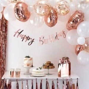 25pc HAPPY BIRTHDAY Rose Gold Ballons & Letters